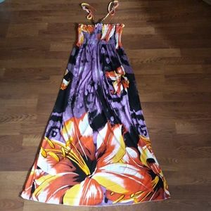 Purple floral beaded halter top maxi dress M